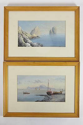 2 Seascape Fishing Boat Paintings 'VITO' Signed Gouache On Artist Paper Framed