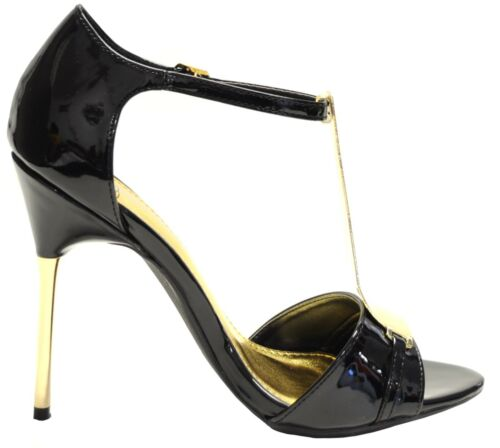 New women/'s shoes formal evening stilettos open toe black gold prom party