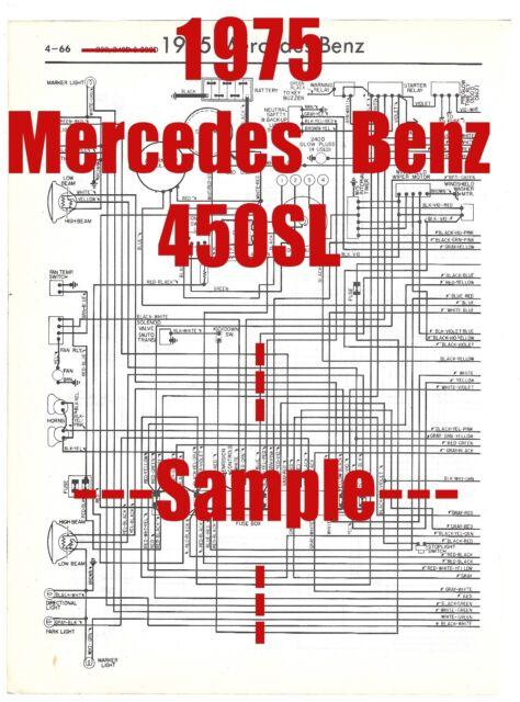 1975 Mercedes Benz 450sl Full Car Wiring Diagram  High