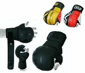 EVO-Guanti-In-Pelle-MMA-KICK-BOXING-rapido-Wrap-Sparring-Grappling-Cage-Combattimento