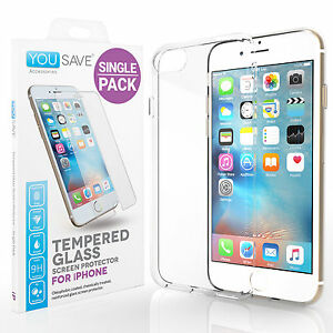cf99fed119e iPhone 7 / 7 Plus Clear Gel Case & Tempered Glass Screen Protector ...