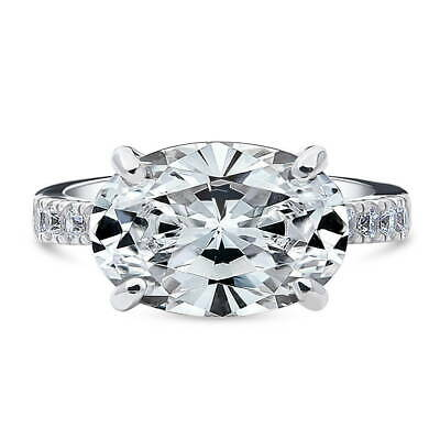 BERRICLE Sterling Silver Oval Cut CZ East-West Solitaire Engagement Ring 5.8 CTW