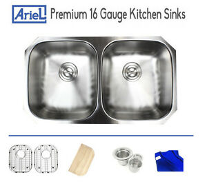 image is loading ariel premium 32 034 16 gauge stainless steel  ariel premium 32   16 gauge stainless steel undermount kitchen sink      rh   ebay com
