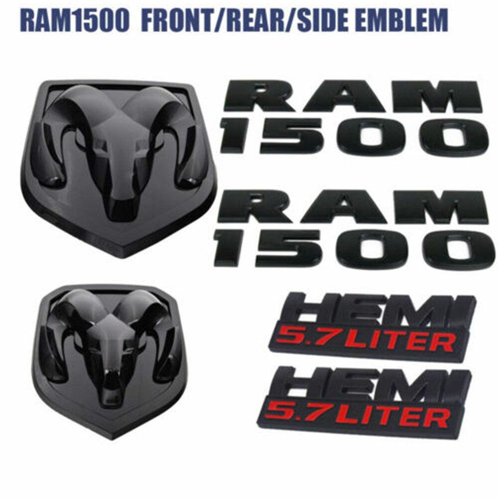 Flat Black 3D Tailgate Ram Emblem Trim Rear Letters For 2015~2018 Dodge Ram 1500