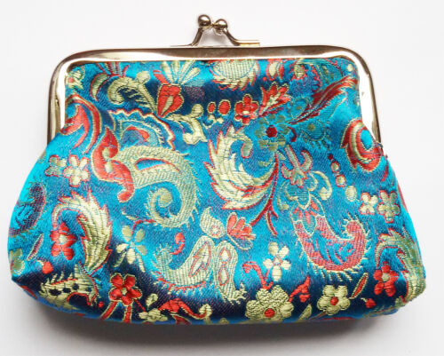 Chinese Embroidery Silk Satin Mini Coin Pouch PURSE Wallet Blue 1PCS