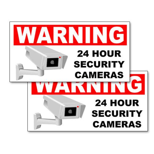"24 HOUR Warning Decals Outdoor Vinyl Labels 8/"" wide SECURITY CAMERA STICKERS"
