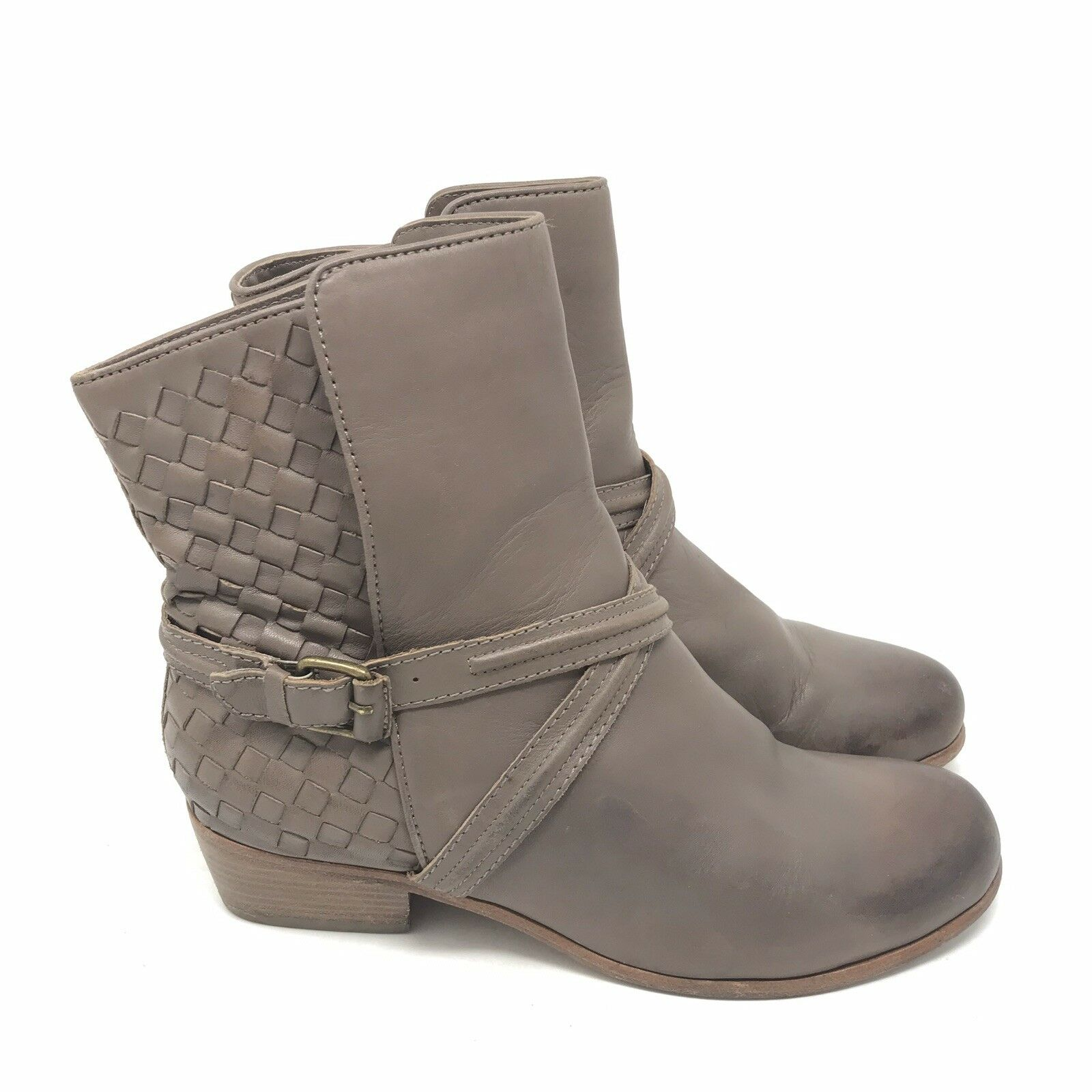 Joie Stiefel Größe 7.5 37.5 Jackson Dove Taupe Woven Leather Ankle Harness Distress