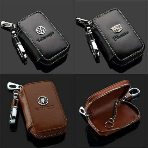 Genuine Leather Car Logo Key Chain Ring Keychain Case Holder Zipped Bag Pouch