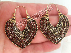 Aztec-Moroccan-Boho-Bohemian-Gypsy-Goddess-heart-Hoop-Tribal-Ethnic-earrings