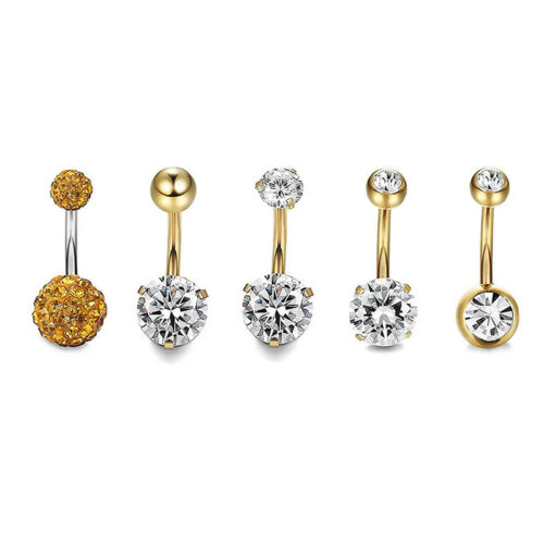 5x//Set Stainless Steel Crystals Navel Belly Button Rings Bars Piercing Jewe lq