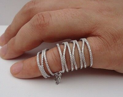 925 STERLING SILVER LADIES FULL FINGER RING W/ 3 CTS WHITE DIAMOND/SIZE 7