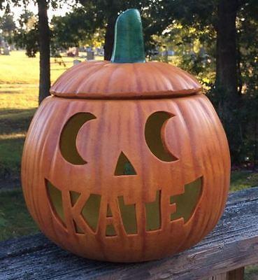 Personalized Ceramic Halloween Jack o Lantern Lamp Light Moon Eyes