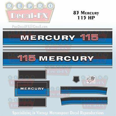 1977 Mercury 115 HP Outboard Reproduction 13 Piece Marine Vinyl Decals 1150