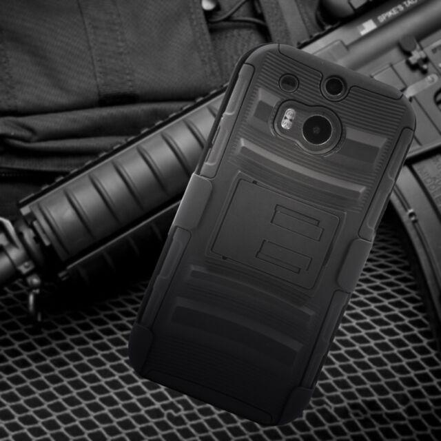 For HTC One M8 Black Defender Hard Case Cover Holster Belt Clip Kickstand & Film