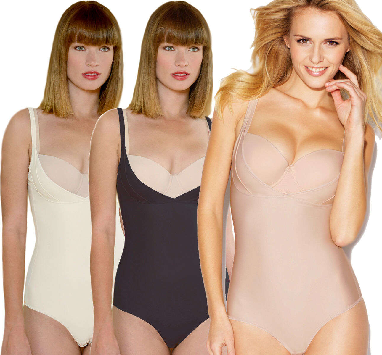 Cybele Shapewear Body mit Push Up Effekt 12390-54 GR. 65 bis 95 in 3 Farben