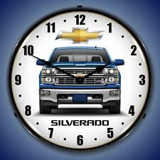 NEW CHEVROLET  BLUE  SILVERADO   RETRO  BACKLIT LIGHTED CLOCK - FREE SHIPPING*