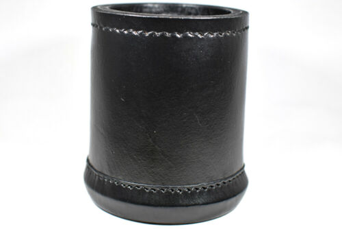 Black Dice Cup Leather Hard Ribbed Inside Handmade BrycesDice Vintage Retro