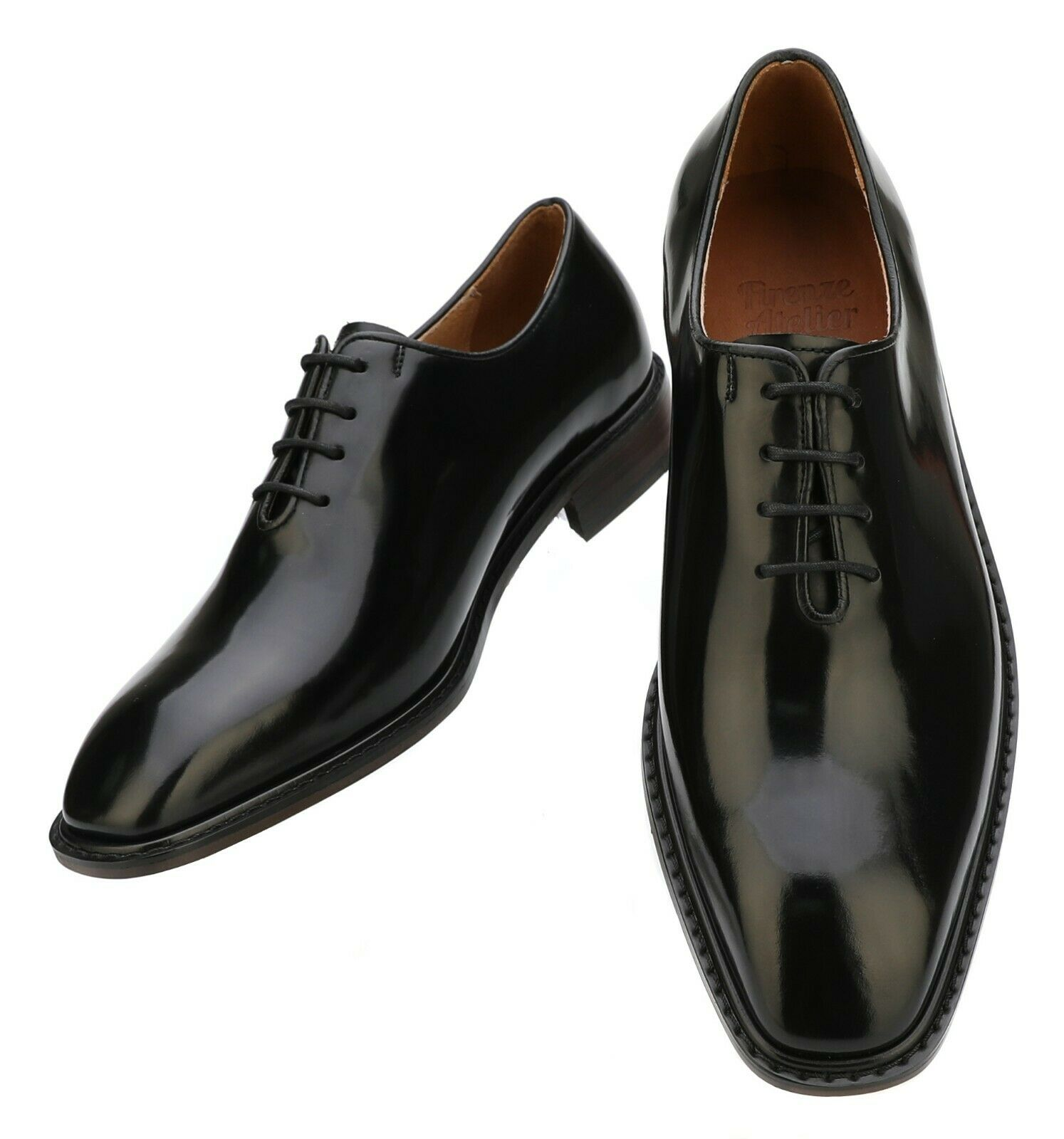 Firenze Atelier Men's Handmade Black Leather Wholecut Lace-up Oxford Derby shoes