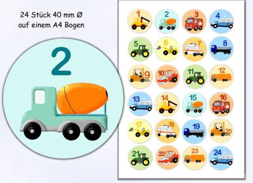 24 Sticker selbstklebende Zahlen Adventskalender verschiedene Fahrzeuge