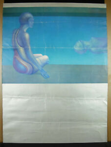 Poster-to-the-1970-the-pool-art-modern-wear-and-tear-and-folds-62-cm
