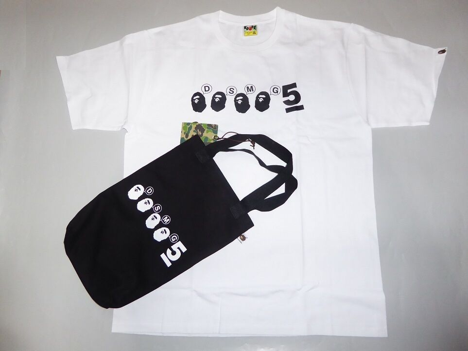 13130 bape DSMG 5th anniversary white tee & tote bag M