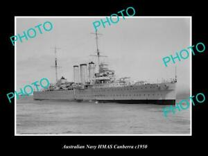 OLD-POSTCARD-SIZE-AUSTRALIAN-NAVY-PHOTO-OF-THE-HMAS-CANBERRA-SHIP-c1950-2