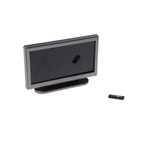 1:12 Dollhouse Miniature Widescreen Flat Panel LCD TV Remote Gray Home Decor ^P