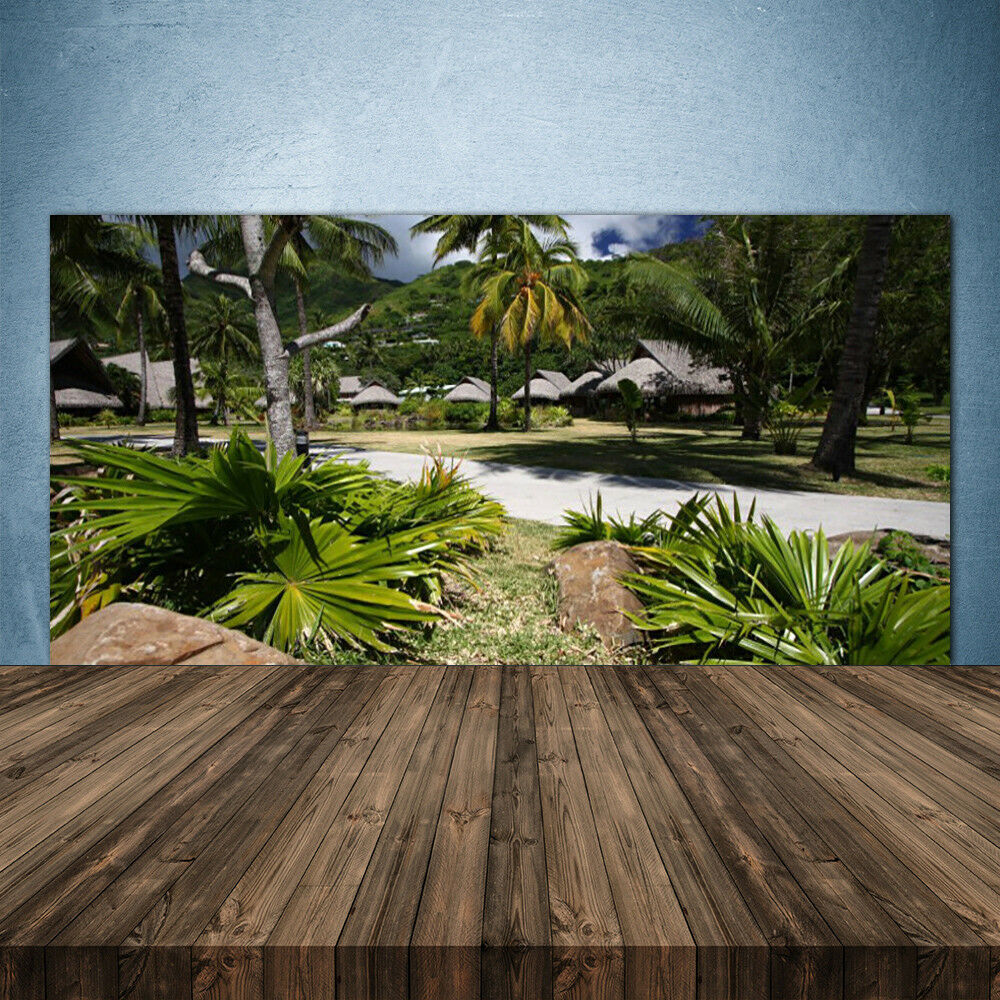 Crédence de cuisine en verre Panneau 140x70 Nature Feuilles Palmiers