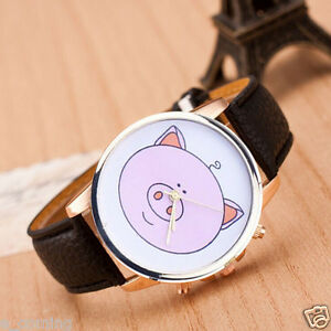 unique piggie womens vintage leather quartz