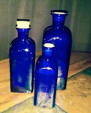 Rosenthal Netter Cobalt Blue Glass Set of 3 Bottles w/Corks made in Spain