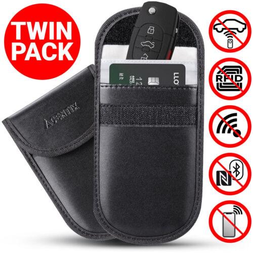2x Lock Car Key Keyless Entry Anti-Theft Fob Signal Blocker Pouch Faraday Bag UK