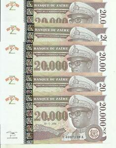Diplomatic Zaire 20000 Zaires P 72 Scarce Unc Condition One Note 3rw 22 Nov Buy One Give One