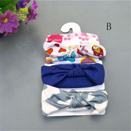 3Pcs Cute Kids Girl Baby Toddler Bow Headband Hair Bands Accessories Headwear UK