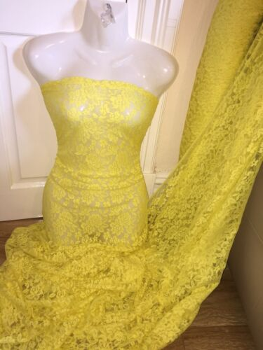 """5 MTR PALE YELLOW LACE NET LYCRA STRETCH FABRIC...60/"""" WIDE £17.49 SPECIAL OFFER"""
