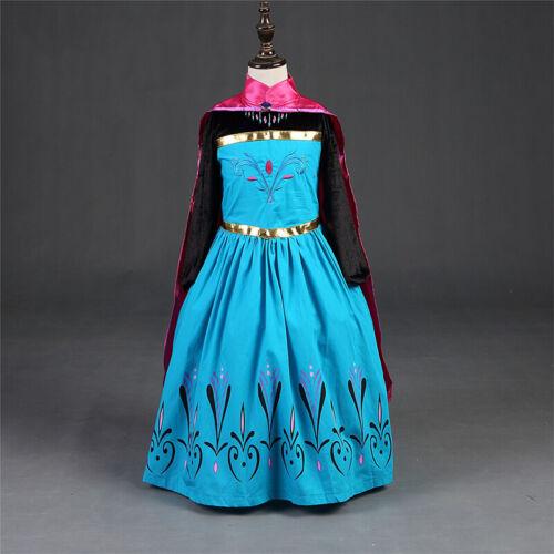 Cartoon Elsa Anna Princess Cosplay Costume Cloak Fancy Dress Kid Girls Halloween