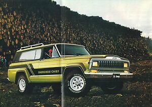 1981 jeep cherokee brochure/catalog with color chart: chief, laredo