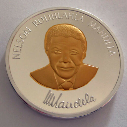 Nelson Mandela Silver Gold Coin Signed Great Man Hero Legend President U C RSA