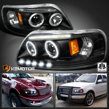 1997 2004 Ford F150 Led Strip Halo Projector Headlights Black Left Right