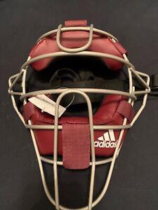 Adidas-Pro-Issue-Baseball-Catchers-Umpires-Mask-Burgundy-Silver-S13292-NWT