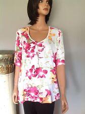 Karen Scott Cotton Blend Knit Top Xl Floral Designer Fashion Women Clothing