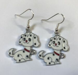 DALMATIAN-DOG-ENAMEL-EARRINGS-SILVER-PLATED-HOOK-Cute-present-in-gift-bag