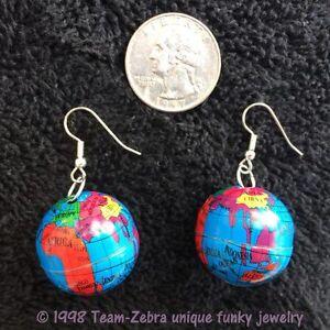 Image Is Loading New Funky Earth Globe Earrings Atlas Travel World