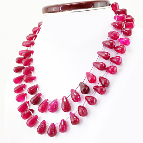 EXCLUSIVE 668.00 CTS EARTH MINED 2 LINE PEAR SHAPE RICH RED RUBY BEADS NECKLACE