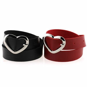 Fashion-Women-Punk-Style-Goth-PU-Leather-Heart-Buckle-Collar-Choker-Chain-Men
