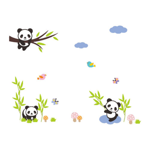 zoo animal panda tree birds kids room decor baby room decals wall stickers uz