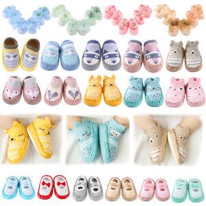 0-6M Infant Baby Boy Girls Anti Slip Shoes Cartoon Cotton Slipper Boots Socks