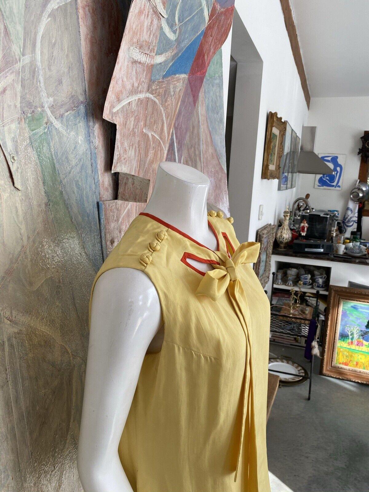Vintage Alice John Rogers Yellow Silk Pussybow Sh… - image 9