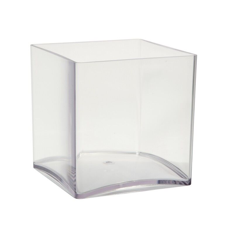 6  ACRYLIC PLASTIC CUBE VASE CLEAR 15cm Square Flower Gift Table Wedding Event