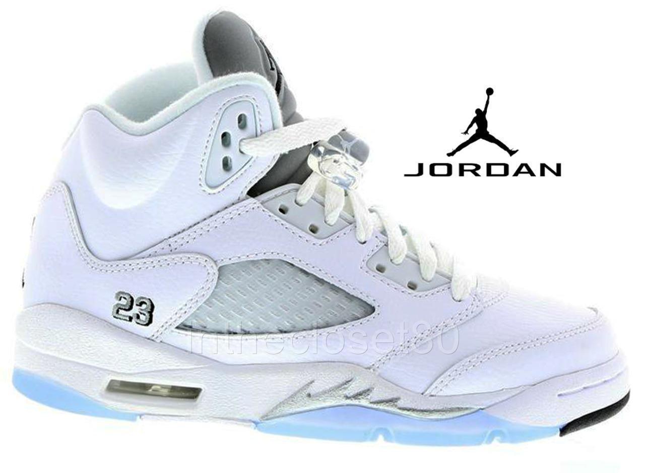 Nike Air Jordan 5 Retro GS BG White Silver Black Womens Girls Boys 440888 130