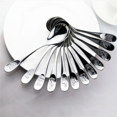 12Pcs Chinese Zodiac Stainless Steel Spoons Forks Table Dinner Dining Tableware